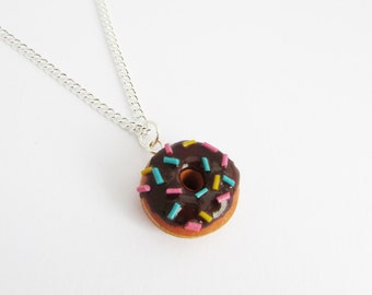 Polymer clay donut, Polymer clay charm, Donut charm, Chocolate donut, miniature food, doughnut charm, food jewellery, food jewelry, gift