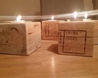 Handmade reclaimed rustic tea light candle holder