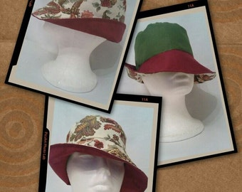 Garden Crewel Floral print Bucket Hat/Fedora/Floppy hat