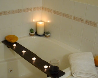 Bathtub Tray with Tealight Candle Holders - Bathing Board to safely store items during bath time