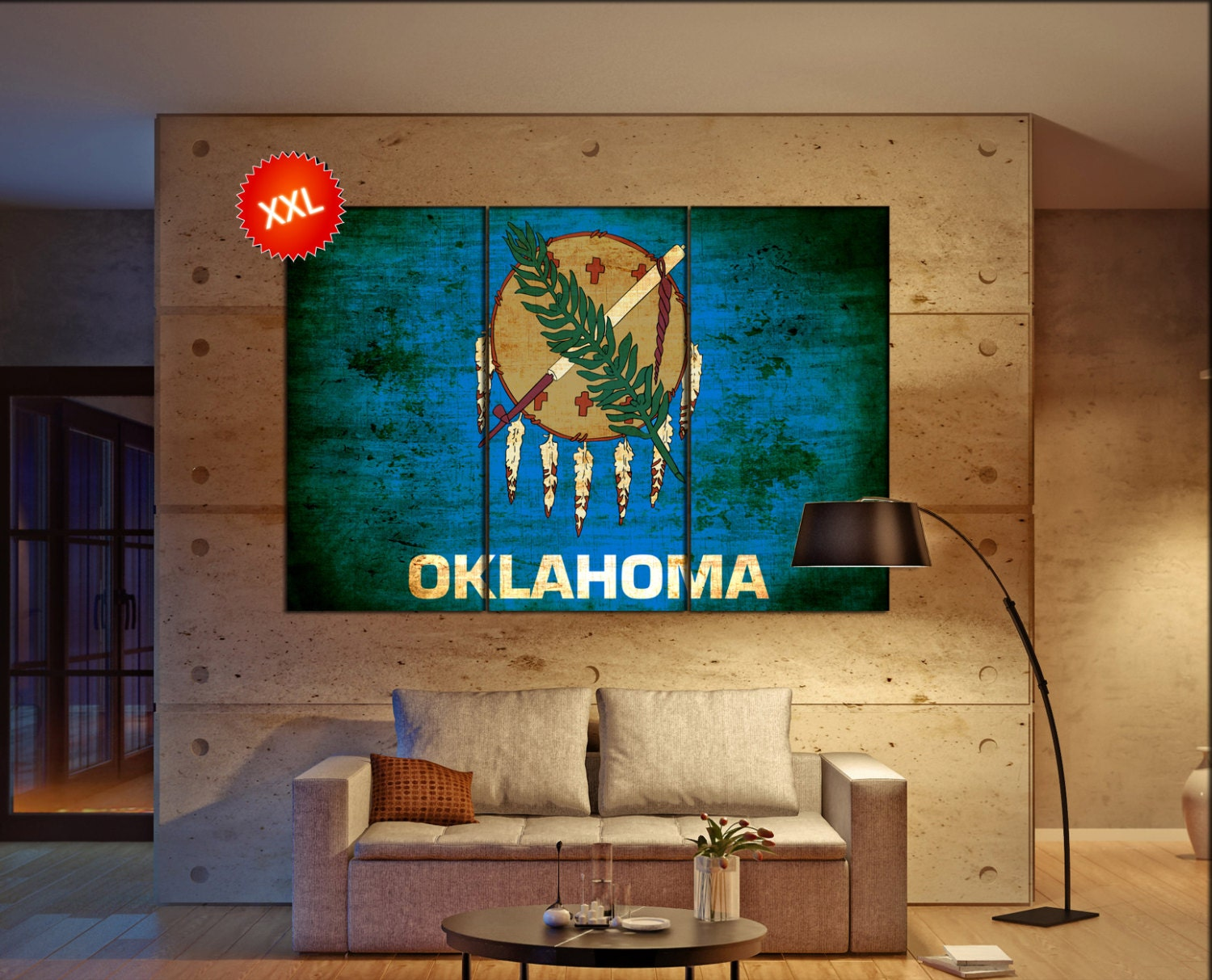 Oklahoma State Flag Canvas Art Print Large Wall Art Canvas
