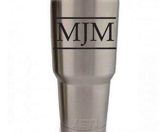 Yeti Cup Monograms! Yeti Decal Personalzied! - 23 colors three initials monogram