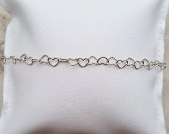 Heart-shaped chain bracelet in Silver 925