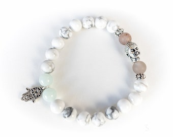 Intention Howlite Bracelets, gemstone bracelet, buddha head, yoga jewelry, Inspirational jewelry