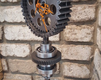 Steampunk flower clock hipster industrial gearhead clock