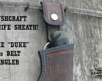 "Bushcraft Leather Knife Sheath / Leather Sheath For 5"" Blades / Fits Mora Knives And More! / Leather Belt Dangler / Bushcraft Gear"