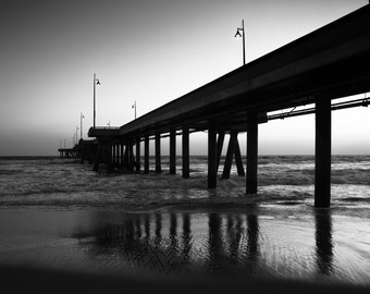 Venice Pier at Sunset ~ Black & White Fine Art Photograph