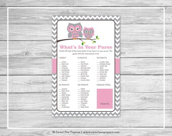 Owl Baby Shower What's In Your Purse Game - Printable Baby Shower What's In Your Purse Game - Pink Owl Baby Shower - Purse Game - SP134