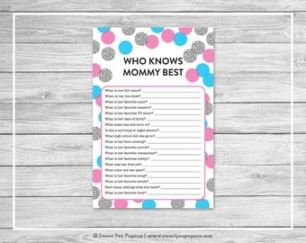 Pink and Blue Gender Reveal Who Knows Mommy Best Game - Printable Gender Reveal Who Knows Mommy Best - Pink Blue Silver Gender Reveal -SP113