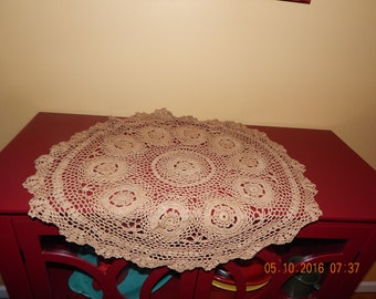 Tea Stained Tea Dye 30 inch round Crochet Shabby Chic Primitive round table topper Doilie