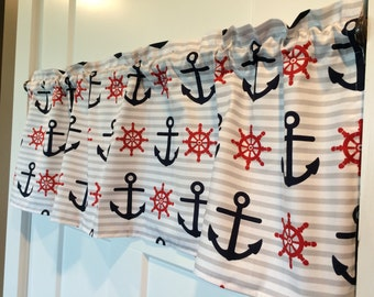 Red and Navy Nautical Anchor striped Window Valance Curtain