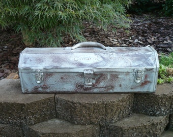 Vintage Metal Tool Box with Tray
