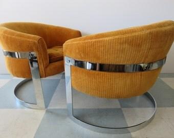 Pair Of Milo Baughman Mid Century Modern Chrome Flat Bar Cantilever Tub  Lounge Chairs,
