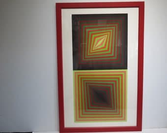 Signed Mid-Century Modern Victor Vasarely Contemporary Op Art.