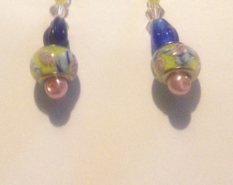 Yellow, pink and blue flower beaded earrings