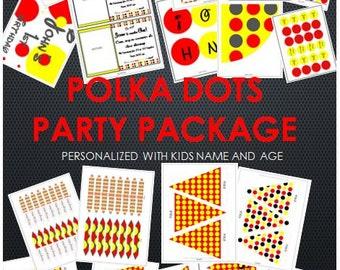 Polka dots (red,yellow,black) printable party supplies