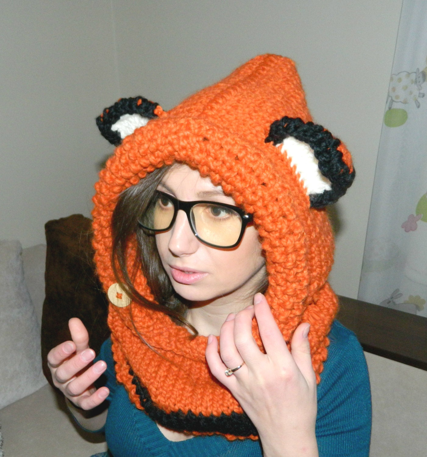 Animal Hoodie Knitting Pattern : Knit Cowl FOX Animal Hat with ears Fox Hoodie Fox Hood Fox