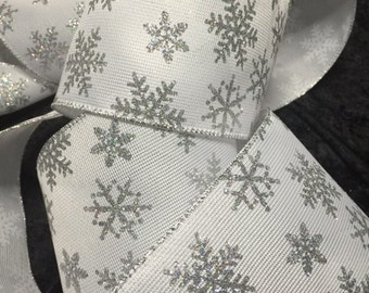 4 in x 25 ft Wired Silver Edge white Ribbon with silver snowflakes