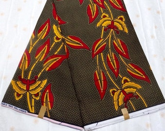 African Print Fabric/ Dutch Wax/ Ankara/ - Sophisticated Yellow & Red Flora Pattern, Sold By the Yard