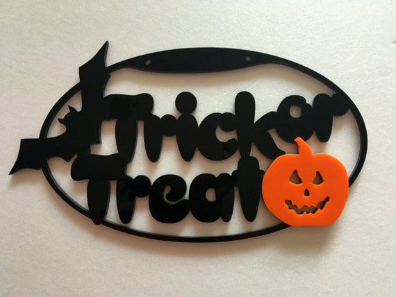 Happy Halloween sign Spooky Trick or Treat Halloween decorations Holiday sign Halloween gift ideas Pumpkin decor Halloween bat Wall hanging