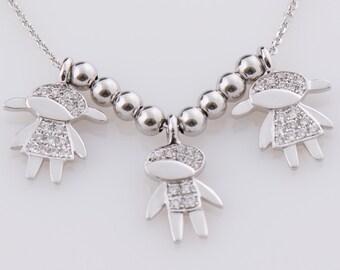 Children Pendant, 18K White Gold Necklace, Child Necklace, Boy Pendant, Girl Necklace, Mother Necklace