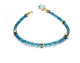 Swiss Blue Topaz Bracelet, Beaded Bracelet, Gemstone Bracelet, Vivid Blue Friendship Bracelet, 14K gold filled, Delicate Stackable Bracelets