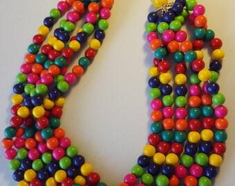 Multi Strand Necklace in Vibrant Colors