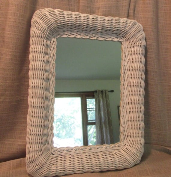 white wicker mirror decorative bathroom office bedroom