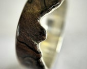 Live Edge Spalted Maple Ring. Handcrafted Wood Ring on Sterling Silver. Maple Wood Ring. Live Edge Wood Ring.