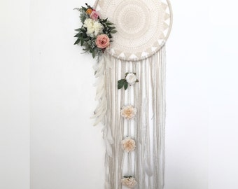 Large boho dream carcher white cascading feathers and silk flowers