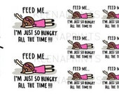 A606 | FEED ME Keenachi Repositionable stickers Perfect for Erin Condren Life Planner, Filofax, Plum Paper & scrapbooking