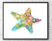Nursery art nautical art print, watercolor starfish art, kids room decor, children's art print, baby nursery wall art, watercolor   - 214