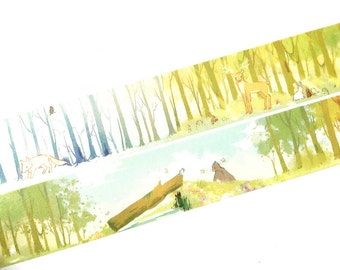 Deer in the woods washi tape (T00272)