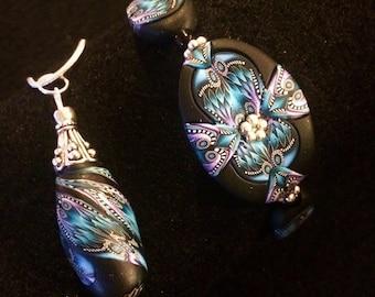 Stylish Kaleidoscope Polymer Clay Pendant & Earring Set