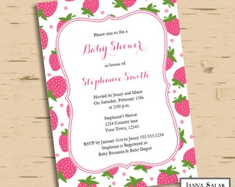 Pink Strawberry Baby Shower Invitation INSTANT DOWNLOAD Editable PDF