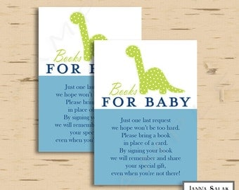 Dinosaur Baby Shower Books for Baby Insert INSTANT DOWNLOAD Blue and Green Dino Printable Diy PDF
