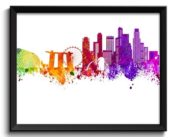 Singapore Skyline Painting Poster Print Singapore Wall Decor Singapore Wall Art  Green Yellow Pink Red Purple Pink Asia City Map Home Decor