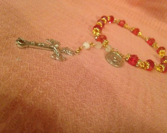 Sparkling St. Philomena chaplet with Catacombs Soil Crucifix