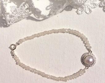White topaz and pearl bracelet, bridle bracelet