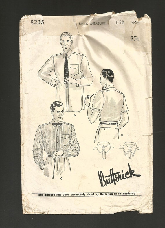 Men's Vintage Reproduction Sewing Patterns 1920s - 30s Mens SHIRTs Pattern Vintage Butterick 8236 Button Front Regulation or French Cuffs Rounded & Pointed Attached Collar options $32.00 AT vintagedancer.com