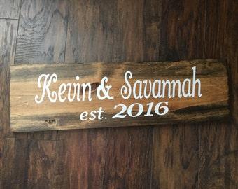 Wedding gift name sign