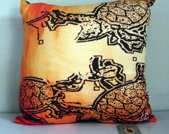 Turtle DECORATIVE pillow cover,SEA TURTLE decor,beach,black,orange pillow,Ochre,eco friendly organic cotton, cushion cover,43cm x 43cm