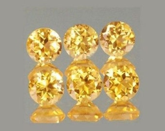 Lot of 25 Piece Natural Yellow Citrine Round cut Faceted Loose Gemstone with free shipping