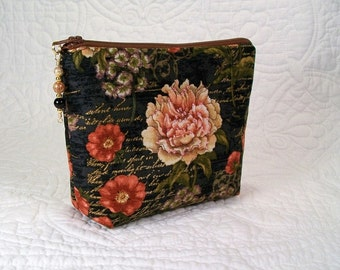 Small makeup bag, beaded cosmetic bag, 7 inch zipper top, beaded zipper pull, pretty floral fabric, makeup organizer, small cosmetic bag.