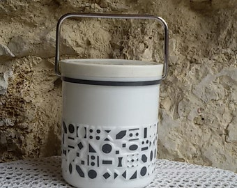 Bucket opaline with geometric decoration cookie / Opaline 60's