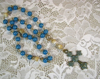 Anglican Prayer Beads-Rosary-Mother of Pearl-Turquoise Oxidized Cross-Hand Wired