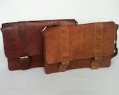 Dark Tan Large Moroccan Leather Briefcase Satchel fits Macbook Pro 13 Messenger bag