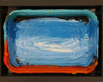 Original abstract expressionist modern art. Three dimensional modern bright oil painting