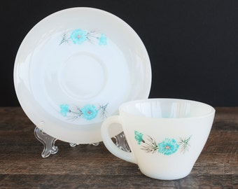 Vintage Fire King Boutonniere Teacup Saucer Set / Mid Century Anchor Hocking / Tea Time / Coffee Bar / Bonnie Blue Pattern / Milk Glass /