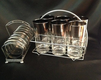 Silver Ombre Tumbler and Coaster Set,Vintage Dorothy Thorpe Style Silver Banded Tumbler glasses with Glass Coasters,Retro Barware Tumblers